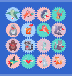 set of icons with cartoon animal cupids vector image vector image