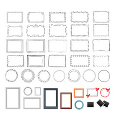 set of round rectangular black and colour frames vector image