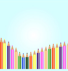 white background with colored pencils vector image vector image