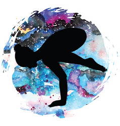 Women silhouette crane yoga pose bakasana vector