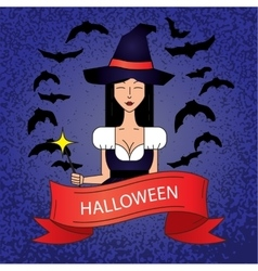 Linear icon with cute halloween witch in purple vector