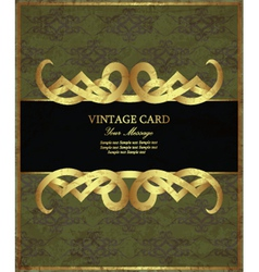 Golden vintage card vector