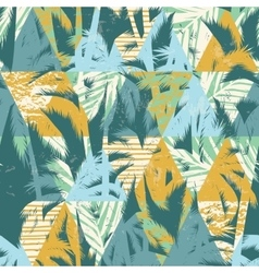 Seamless exotic pattern with palm leaves on vector image