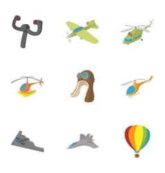 Flying device icons set cartoon style vector