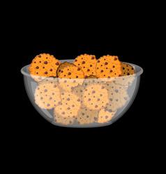 Cookies in bowl biscuit in deep transparent plate vector