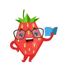 Funny strawberry in eyeglasses reading book cute vector
