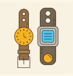 Wristwatch smart watch old and new vector