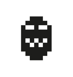 Cheerful and kind pixel monster monochrome vector