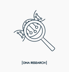 Dna research outline icon isolated molecule dna vector