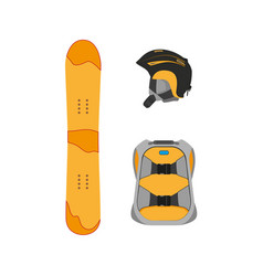 snowboarding equipment set flat isolated vector image