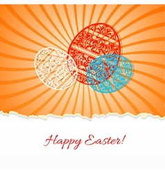 Background with a paper easter egg and rays vector