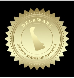 Gold star label Delaware vector image