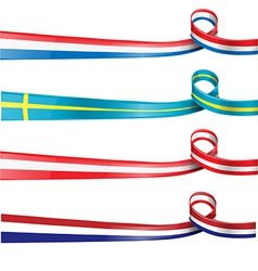 European flag ribbon flag set vector