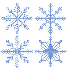 4 cross stitch snowflakes vector image