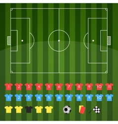 Football field and football icons for strategy vector