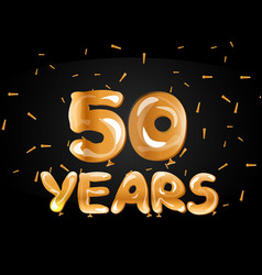 50th anniversary gold greeting card vector