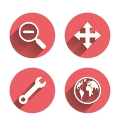Magnifier glass and globe signs fullscreen vector