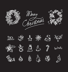 Merry christmas icons vector