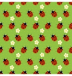 ladybugs with flowers seamless patter vector image