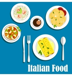 Italian cuisine with pasta and risotto vector