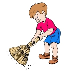 Boy with a broom vector