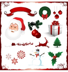 Christmas elements isolated on white vector