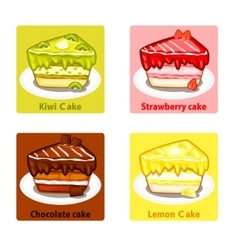 Icons set with colorful sweet cakes vector