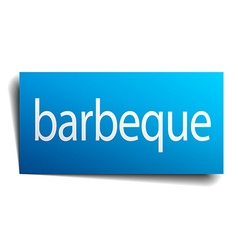 Barbeque blue square isolated paper sign on white vector