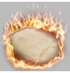 Burning paper banner EPS 10 vector image