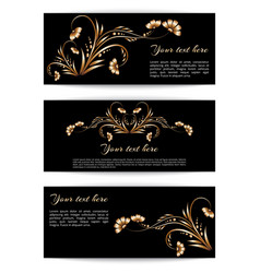 Banners with gold flowers vector