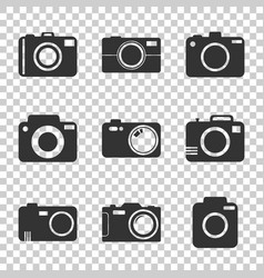 Camera icon set on isolated background in flat vector