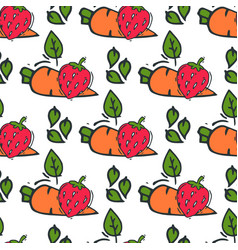carrot seamless pattern background hand drawn vector image vector image