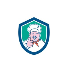 Chef Cook Happy Thumbs Up Shield Cartoon vector image vector image
