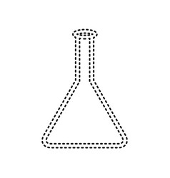 Conical flask sign black dashed icon on vector