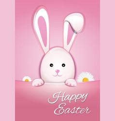 cute easter bunny on a pink background happy vector image vector image