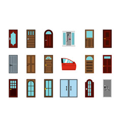 Door icon set flat style vector