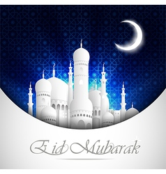 Eid mubarak background with mosque view night vector