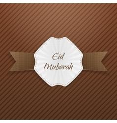 Eid mubarak greeting paper emblem vector