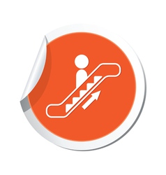 Escalator up sign orange sticker vector