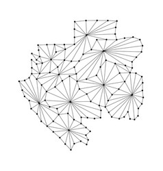 Gabon map of polygonal mosaic lines network rays vector