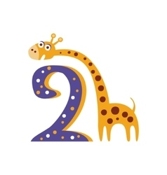 Giraffe Standing Next To Number Two Stylized Funky vector image