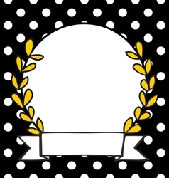 Laurel wreath decorative photo frame with dots vector