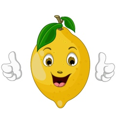 lemon cartoon thumbs up vector image vector image