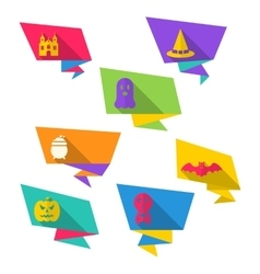 Origami Paper Banners with Halloween Symbols vector image vector image