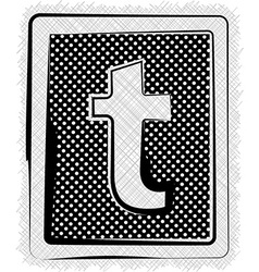 Polka dot font letter t vector