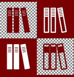 Row of binders office folders icon bordo vector