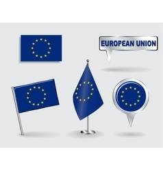 Set of european union pin icon and map pointer vector