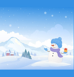 snowman and mountains background vector image vector image