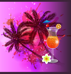 Summer background with palm trees and juice vector