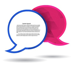 Two polygonal speech bubble chat pink and blue vector